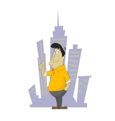 Fun cartoon guy holding his finger up vector image