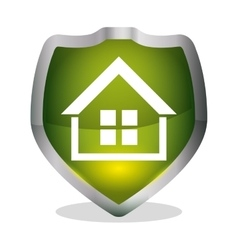 Green home security shield badge vector