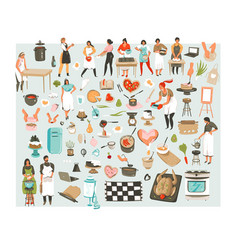 hand drawn abstract cartoon cooking class vector image