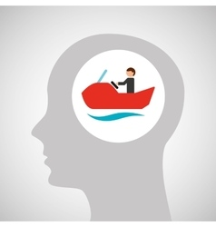 head silhouette water bike extreme sport vector image