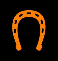 horseshoe sign orange icon on black vector image