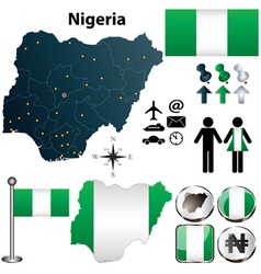 Nigeria map with regions vector image vector image