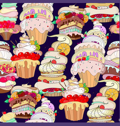 Pattern of fantastic pastries vector