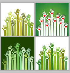 set of green volunteers caring up hands hearts vector image vector image