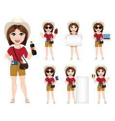 Tourist woman traveler set of cute cartoon vector