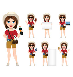 tourist woman traveler set of cute cartoon vector image
