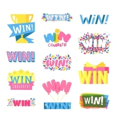 Win text set vector image