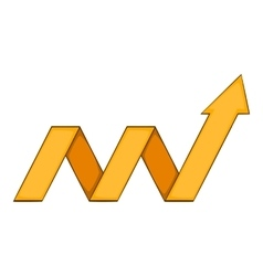 Yellow growth arrow chart icon cartoon style vector