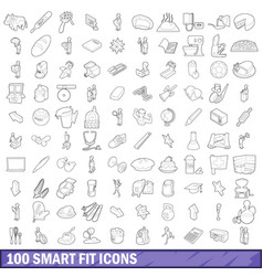 100 smart fit icons set outline style vector