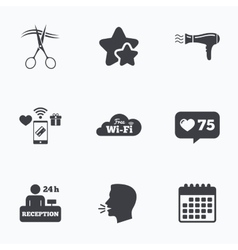 Hotel services icon wi-fi hairdryer vector