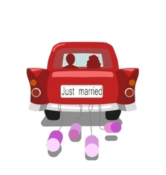 Wedding car just married cartoon vector