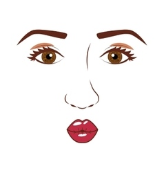 Woman face with open eyes and giving a kiss vector