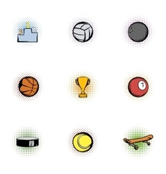 Sports accessories icons set pop-art style vector