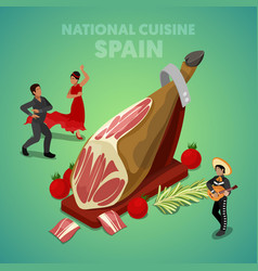 Isometric spain national cuisine with jamon vector