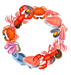 Frame with various seafood of fish vector