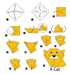 Step by step instructions how to make origami vector