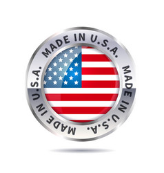 Metal badge icon made in usa with flag vector