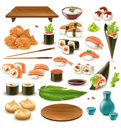 Japanese food set vector