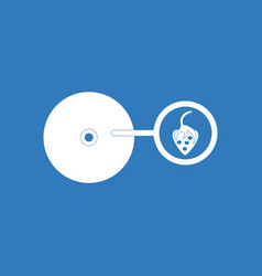 Icon on background music plate and strawberry vector
