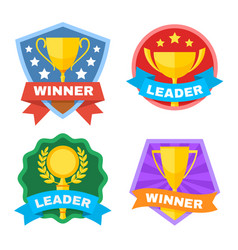 Achievement champ and contest logo set vector