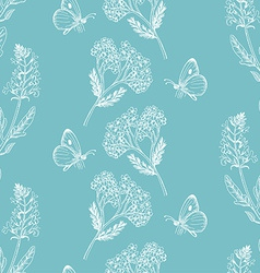 Seamless pattern with herbs on a blue background vector