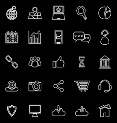 Seo line icons on black background vector