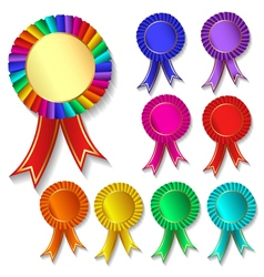 Set of colorful festive medals vector