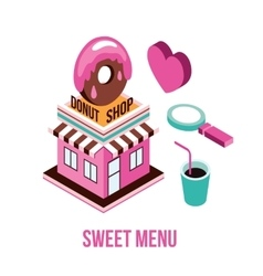 Donut shop coffee love food isometric infographic vector