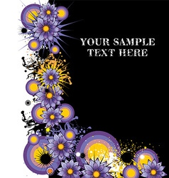Grunge purple floral background with text space vector