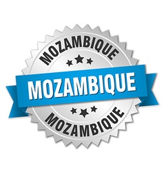Mozambique round silver badge with blue ribbon vector