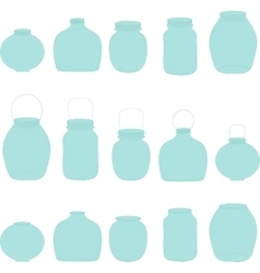 Jars set blue jars vector