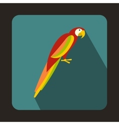 Colorful parrot icon in flat style vector