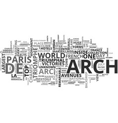 Arch of triupmh paris text word cloud concept vector