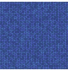 Blue knitted seamless pattern vector