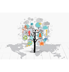 Business concept tree with cloud of application vector