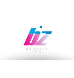 bz b z alphabet letter combination pink blue bold vector image