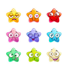 cartoon colorful glossy star characters set vector image vector image