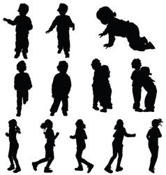 Children cute silhouette vector