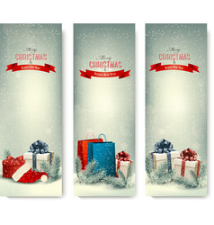 Christmas winter banners with presents vector image vector image