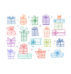 collection of colored doodle sketch christmas gift vector image vector image