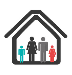 Color pictogram with family in home vector