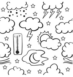 Doodle of cloud style weather theme vector