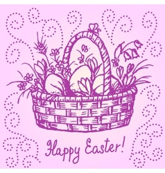 easter basket vector image