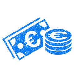 Euro cash grunge icon vector