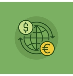 Euro to dollar convert green icon vector