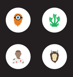 Flat icons snake monster lion and other vector