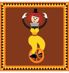 Funny female clown balances on a unicycle vector