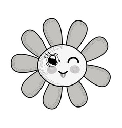 Grayscale kawaii funny flower with tongue outside vector