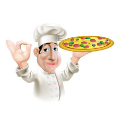 Happy pizza chef vector