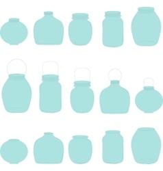 Jars set blue jars vector image